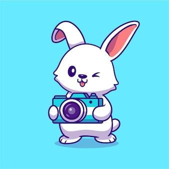 Милый кролик держит камеру мультфильм. концепция значок технологии животных изолированы. плоский мультяшном стиле