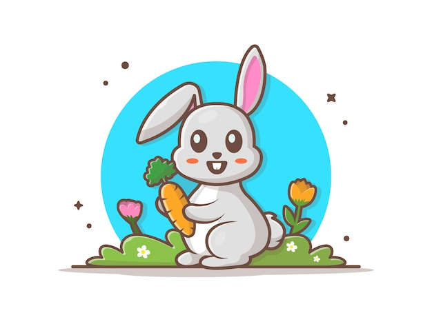 Cute rabbit holding carrot  icon illustration