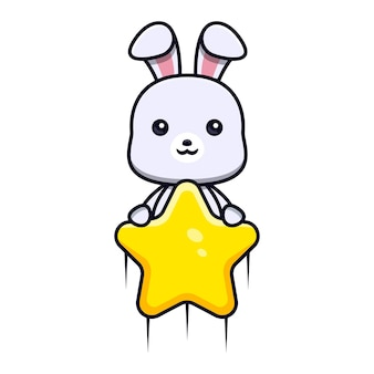 Cute rabbit holding star and fly to the sky animal mascot character