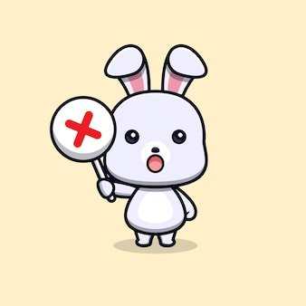Cute rabbit holding wrong sign or cross sign animal mascot character
