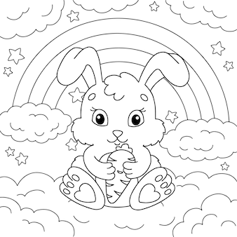 A cute rabbit holds a carrot in its paws coloring book page for kids
