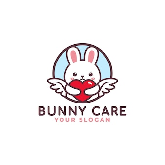 Cute rabbit hugging heart care logo mascot baby shop