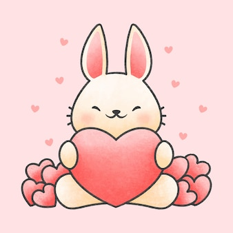 Cute rabbit hugging heart cartoon hand drawn style