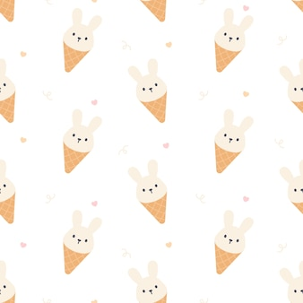 Cute rabbit ice cream seamless  repeating pattern, wallpaper background, cute seamless pattern background