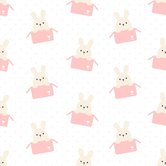 ボックスのシームレスな繰り返しパターン、壁紙の背景、かわいいシームレスパターン背景でかわいいウサギ