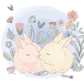 花の庭でかわいいウサギ