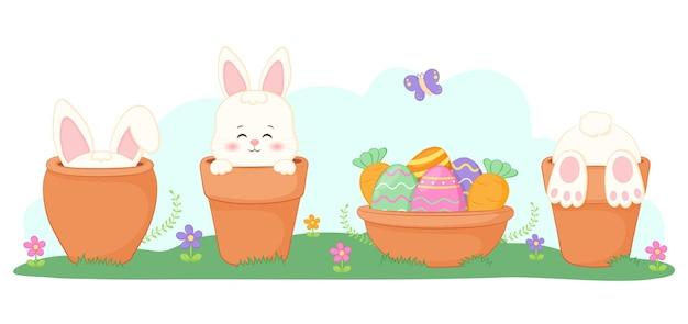 Милый кролик в цветочном горшке.
