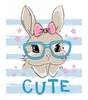 Милый кролик в очках.
