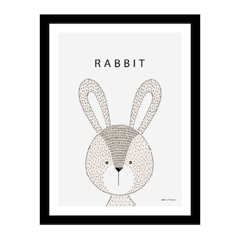 Cute rabbit inside a black frame