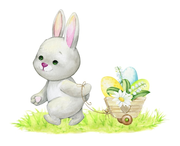 かわいいウサギは、カート、イースターエッグのバスケットで運ばれています。子供のイラストのための、孤立した背景の水彩画の概念
