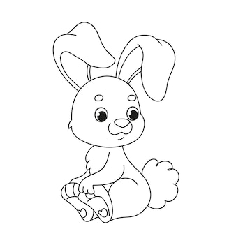 A cute rabbit is sitting. children s cartoon coloring book. black and white vector illustration with easter bunny. developing task for the kid fun