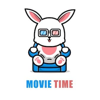 Милый кролик смотрит мультфильм иллюстрации фильма