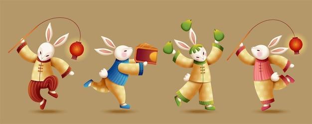 Симпатичная команда кроликов по жонглированию с красным фонарем, помело и лунным пирогом