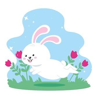 풍경에 점프 귀여운 토끼