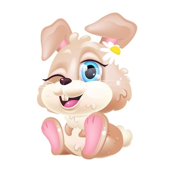 Cute rabbit kawaii cartoon character. happy easter bunny. adorable and funny animal sitting and winking isolated sticker, patch. anime baby girl bunny with flower emoji on white background