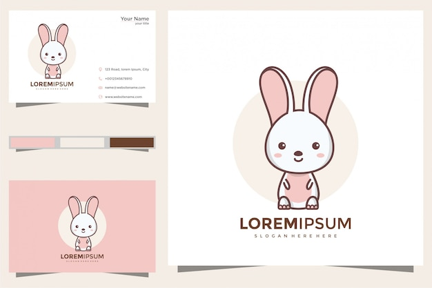 Милый кролик логотип и визитная карточка