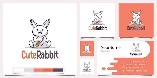 Милый кролик логотип визитная карточка
