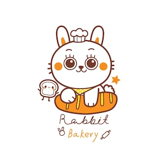 Симпатичный кролик логотип для пекарни, мультяшный рисованной руки
