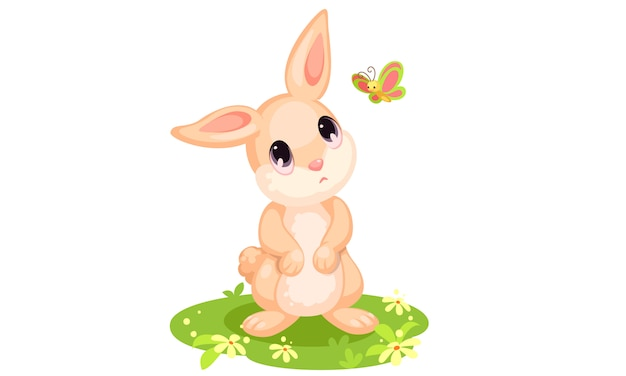 Cute rabbit looking at butterfly cartoon