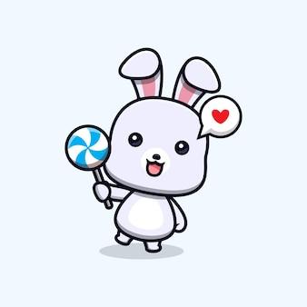 Cute rabbit love lollipop animal mascot character