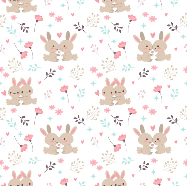 Cute rabbit in love together with flower and leaf seamless pattern