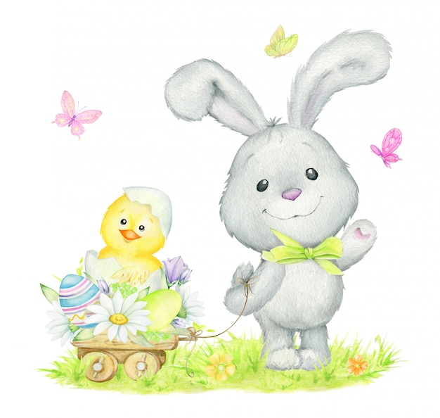 Cute rabbit, lucky, chicken, flowers, easter eggs. watercolor
