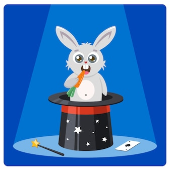 Cute rabbit in a magic hat gnaws carrots illustration