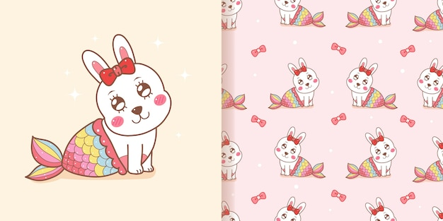 Cute rabbit mermaid seamless pattern with pink background.
