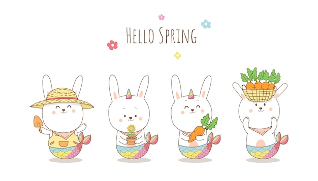 かわいいウサギ人魚ユニコーンバナー漫画