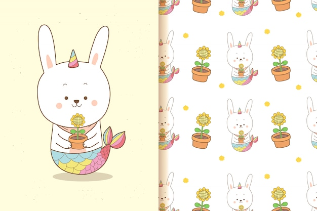 Cute rabbit mermaid unicorn holding a sunflower with seamless pattern