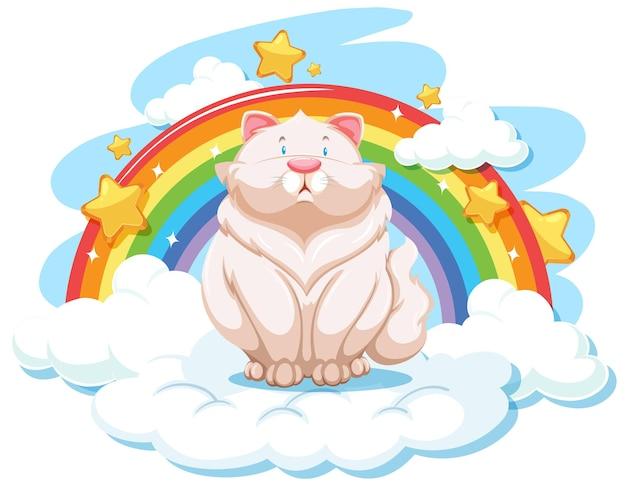虹と雲の上のかわいいウサギ