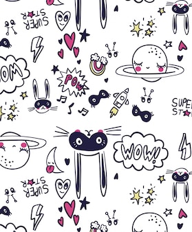 Cute rabbit pattern design for t shirt printing