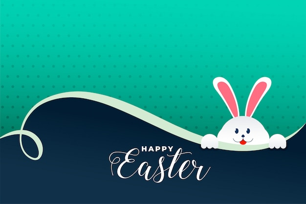 Cute rabbit peeping out easter day background