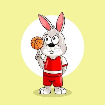 Милый кролик играет в баскетбол