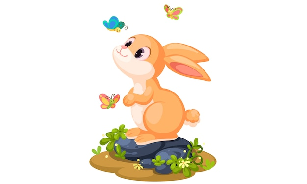 Cute rabbit playing with butterflies