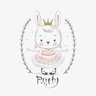 Cute rabbit princess with crowncartoon hand drawn vector illustration can be used for baby tshirt