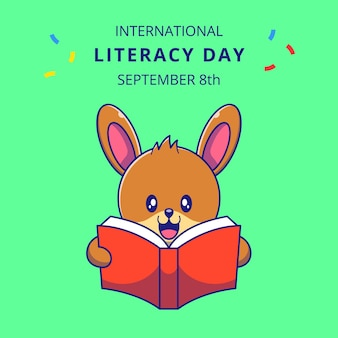 책 만화 그림을 읽고 귀여운 토끼입니다. 토끼 마스코트 만화 캐릭터.