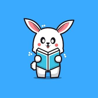 Cute rabbit reading book cartoon icon illustration