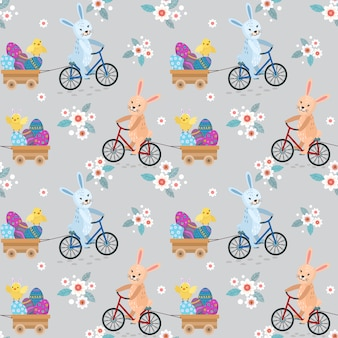Cute rabbit riding bike with easter eggs.