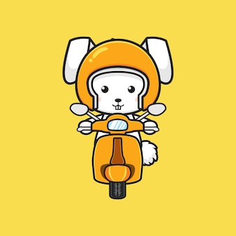 Милый кролик езда скутер мультфильм значок иллюстрации. дизайн изолированные плоский мультяшном стиле