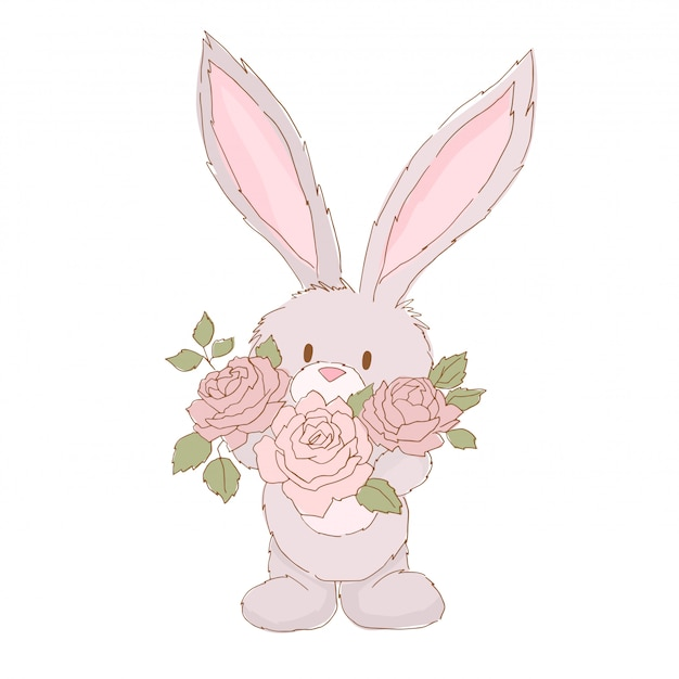 Cute rabbit and rose bouquet