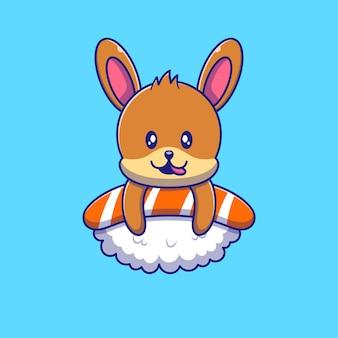 스시 일러스트 위에 맛있는 것을 즐기는 귀여운 토끼. 토끼 마스코트 만화 캐릭터.