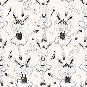 Cute rabbit seamless pattern cartoon hand drawn doodle style