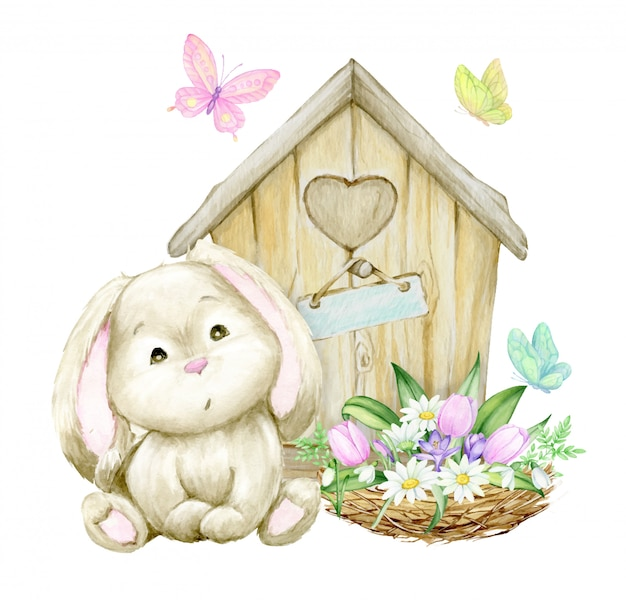 Cute rabbit, sitting on the background of a wooden house, nest with a bouquet of flowers and butterflies. watercolor concept on a spring theme.