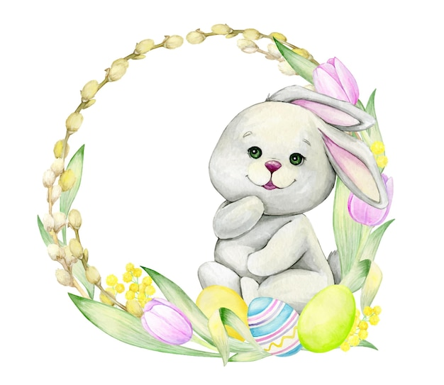 花、イースターエッグで作られた、丸いフレームに座っているかわいいウサギ。休日、イースターのための、漫画風の孤立した背景の水彩クリップアート。