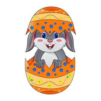 卵に座っているかわいいウサギ