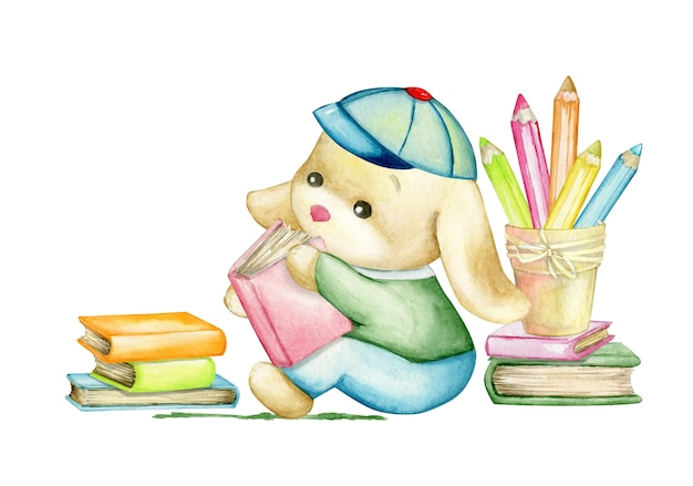 Милый кролик сидит и читает книгу. концепция акварели, на изолированном фоне.