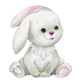 Cute rabbit, sitting, watercolor animal, cartoon style, on isolated background.