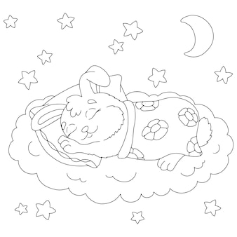 A cute rabbit sleeps under a blanket coloring book page for kids