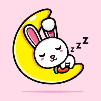귀여운 토끼가 달에 푹 자다